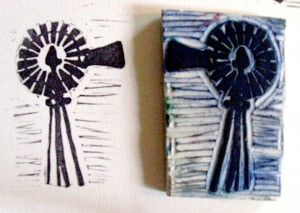 Windmill Cut Rubber Stamp