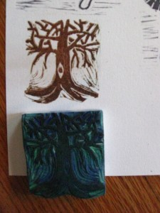 Cut rubber tree stamp