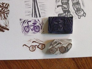bike and glasses cut stamp