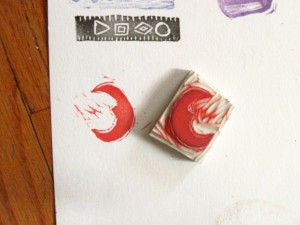 moon cut rubber stamp